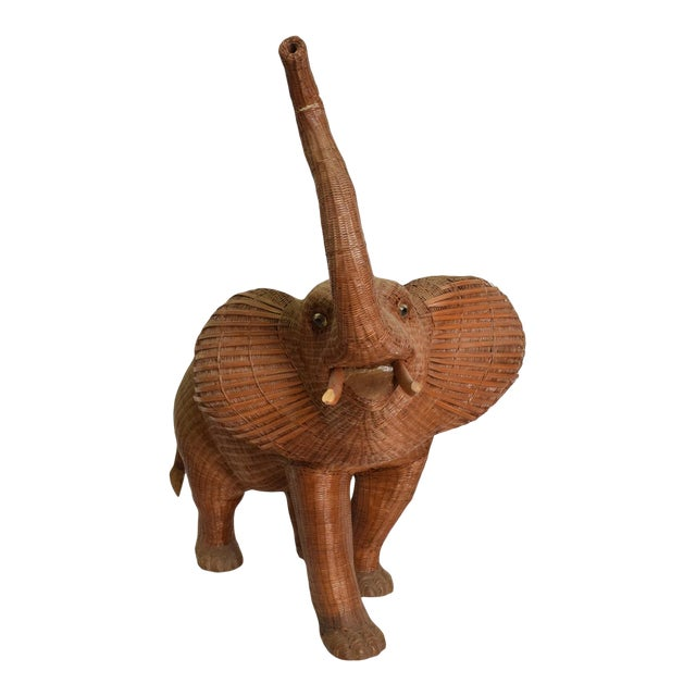 Antique Elephant Wicker Box Hollywood Regency Period For Sale