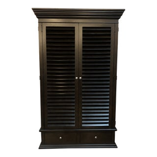 Contemporary Drexel Heritage Black Grand Armoire Storage/Media Cabinet For Sale