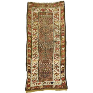 Early 20th Century Antique Persian Kurdish Runner Rug - 4′ × 8′4″ For Sale