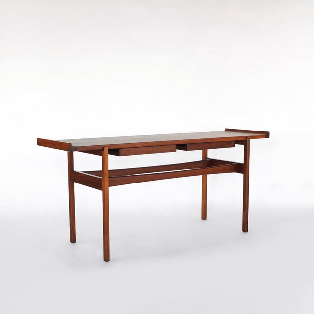 1960s Danish Modern Jens Risom Console Table With 2 Drawers For Sale - Image 12 of 12