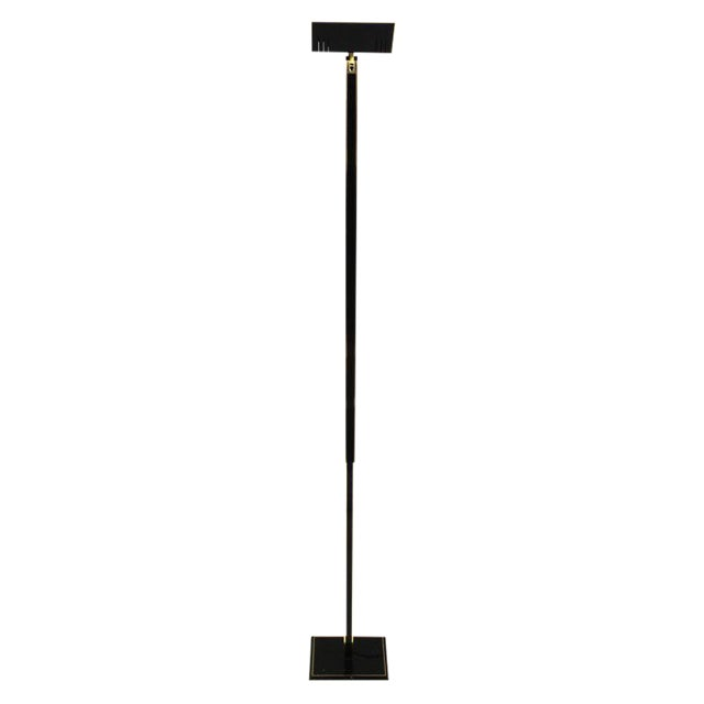 Italian Tall Brass & Black Lacquer Torchiere Lamp For Sale