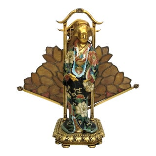 Antique French Art Nouveau Lamp--Kuan Xen Figure with Stained Glass, Circa 1890. For Sale