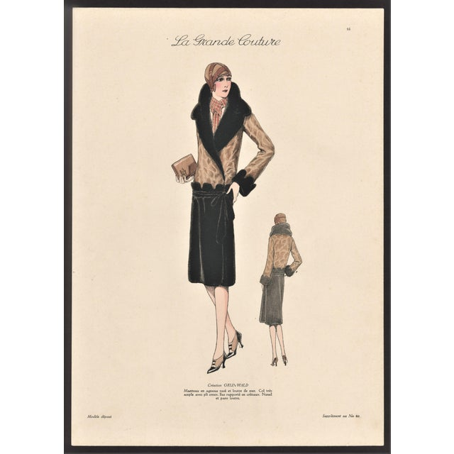 1920s 1920s French Art Deco Couture Fashion Print For Sale - Image 5 of 5