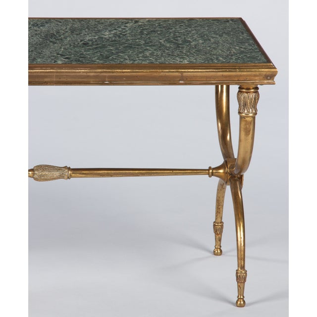French Mid-Century Brass and Marble Coffee Table For Sale - Image 10 of 13