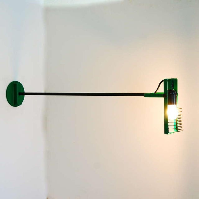 A rare and beautiful Sintesi Task Lamp, having a two-section rod, which can be used with two different lengths. The shade...