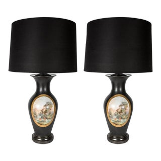 Exquisite Pair of Antique English Vases Mounted as Lamps For Sale