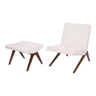 Studio Crafted Upholstered Walnut Lounge Chair & Ottoman For Sale