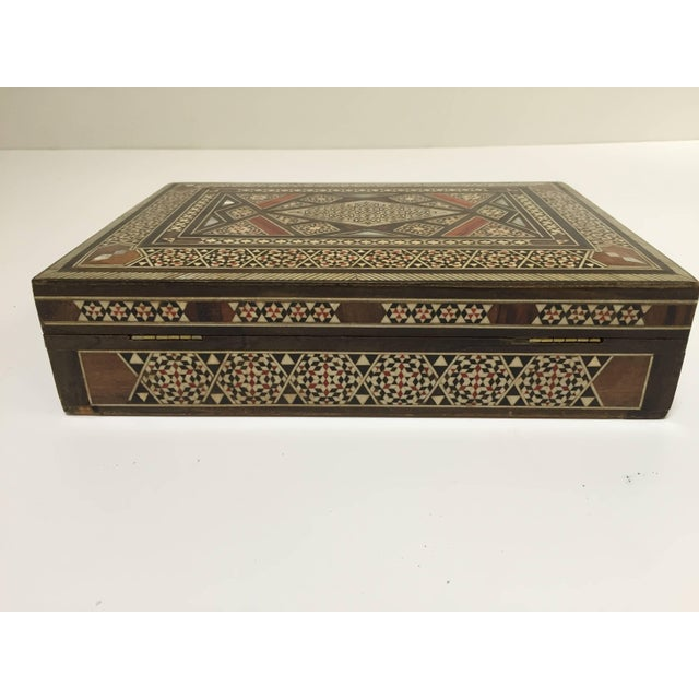 Middle Eastern Syrian Mother of Pearl Inlay Jewelry Box For Sale - Image 9 of 10