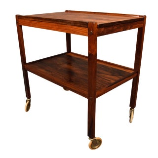 1960s Scandinavian Modern Rosewood Cocktail Cart For Sale