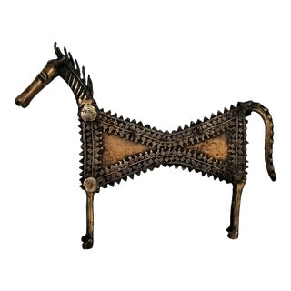 Rare 1960s Solid Brass Brutalist Horse Sculpture in the Style of Pablo Picasso For Sale