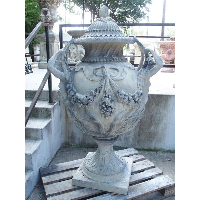 Stunning Pair of Cast Grey Stone Urns from the Margam Park Originals For Sale In Dallas - Image 6 of 10