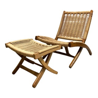 Mid Century Danish Modern Hans Wegner Style Folding Rope Chair & Ottoman For Sale