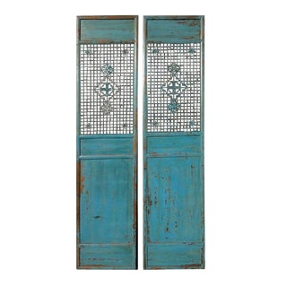 Antique Pair Chinese Tall Blue Flower Carving Screen Panels For Sale