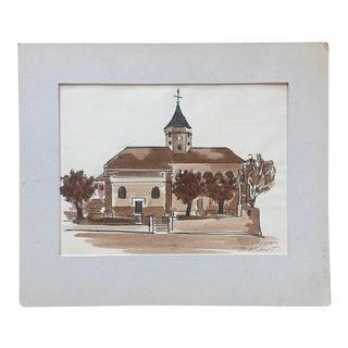 """1950's Pen & Ink Sketch-""""Nemours, France""""-Signed For Sale"""