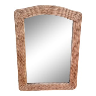 Vintage Pencil Reed Arched Mid Century Modern, Coastal Wall Mirror For Sale