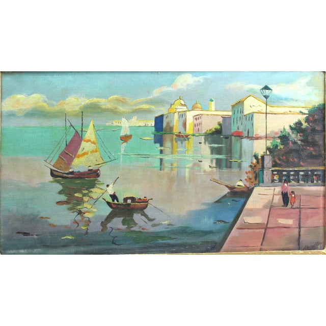 1930s Beach Mediterranean Fine Oil Painting - Image 5 of 9