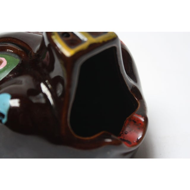 Red Hand-Painted Folk Art Porcelain 'Pig' Ashtray For Sale - Image 8 of 13