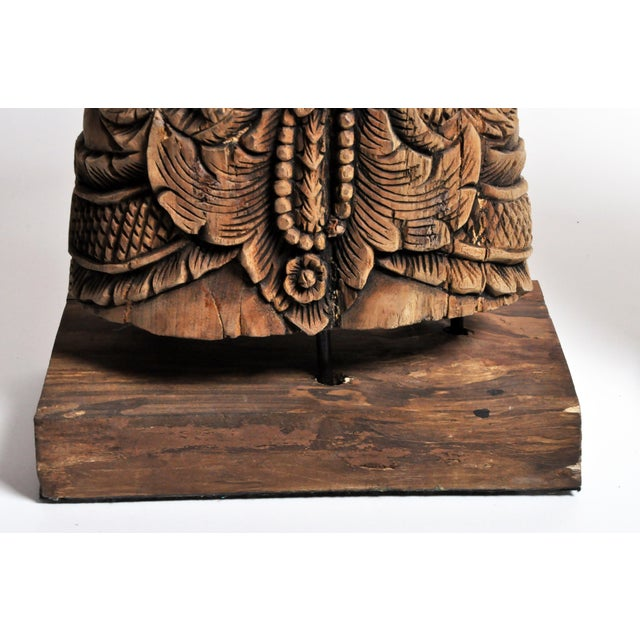 Tan Southeast Asian Wood Carving Model of a Goddess For Sale - Image 8 of 13