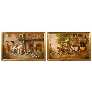 Pair of Equestrian Paintings Signed e.r. Woods For Sale