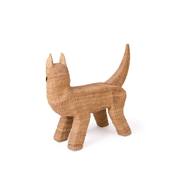 1970s Mario Lopez Torres Woven Reed and Copper Dog For Sale - Image 5 of 6