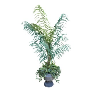 Potted Faux Artificial Tree + Plants Decor For Sale