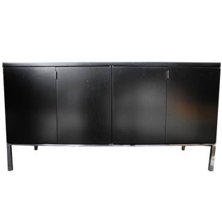 Black Vintage Mid-Century Modern Credenza in the Style of Florence Knoll For Sale