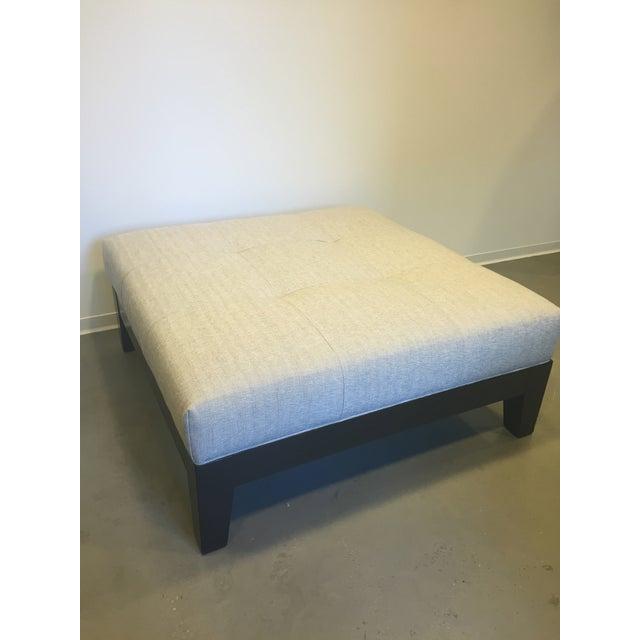 Modern Belgian Linen Upholstered Ottoman - Image 4 of 8