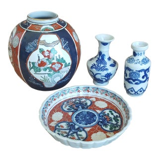 Set of 4- Asian Chinoiserie Imari Style Ceramic Shelf Decor