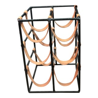 Arthur Umanoff Iron Wine Rack with Cowhide Straps For Sale