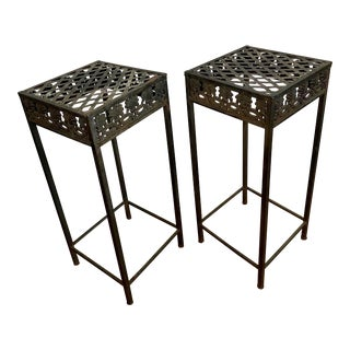 Art Deco Cast Iron Plant Stands - a Pair For Sale