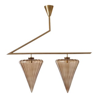 Mid-Century Modern Geometrical Chandelier With Murano Taupe Glass by Seguso For Sale