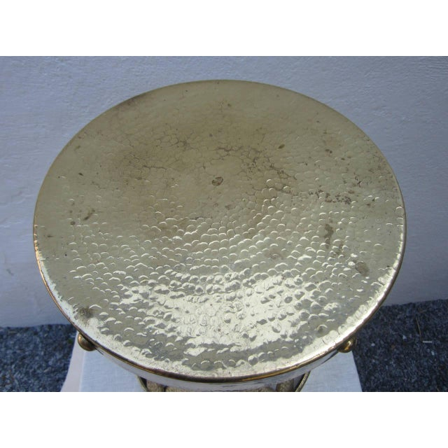 Modern hammered brass stool. Stamped Hong Kong!