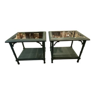 1970s Chinoiserie Dark Green Faux Bamboo Side Tables - a Pair For Sale
