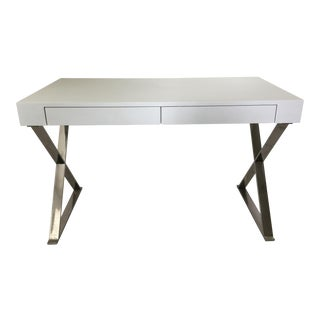 Mid Century Modern X-Shaped Base Desk For Sale