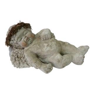 Sleeping Cherub Ceramic Sculpture For Sale