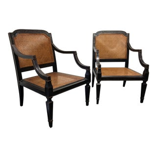 Baker Milling Road Sheraton Occassional Chairs Cane & Lacquer - A Pair