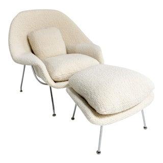Eero Saarinen Womb Chair and Ottoman, Restored in Dedar Boucle For Sale