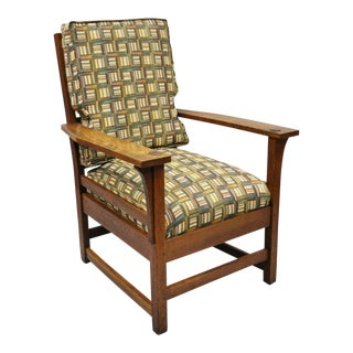 L & Jg Stickley Mission Oak Arts & Crafts Lounge Arm Chair with Spring Seat Cushion For Sale