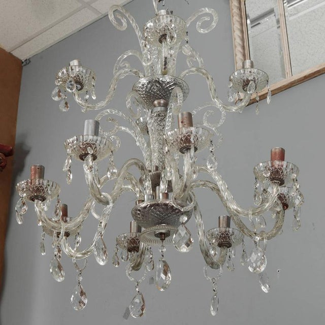 Large Double Tier Murano Clear Glass Chandelier For Sale - Image 9 of 10
