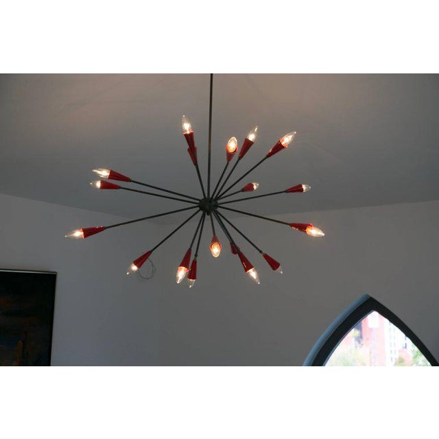 Mid-Century Modern Italian Red Stilnovo Style Seventeen-Light Sputnik Chandelier, Circa 1950 For Sale - Image 3 of 11