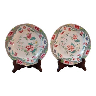 Antique English Polychrome Plates - a Pair For Sale