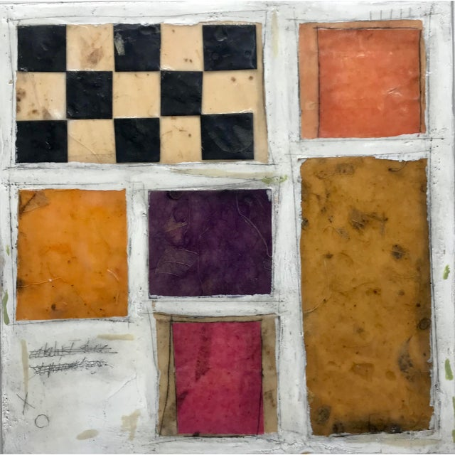 """Gina Cochran """"Necessity of Play No. 8"""" Encaustic Collage Painting For Sale - Image 9 of 9"""