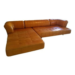 Pacific Green Leather Sectional For Sale