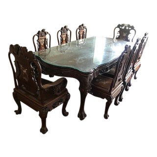 Rosewood and Mother of Pearl Dining Set For Sale