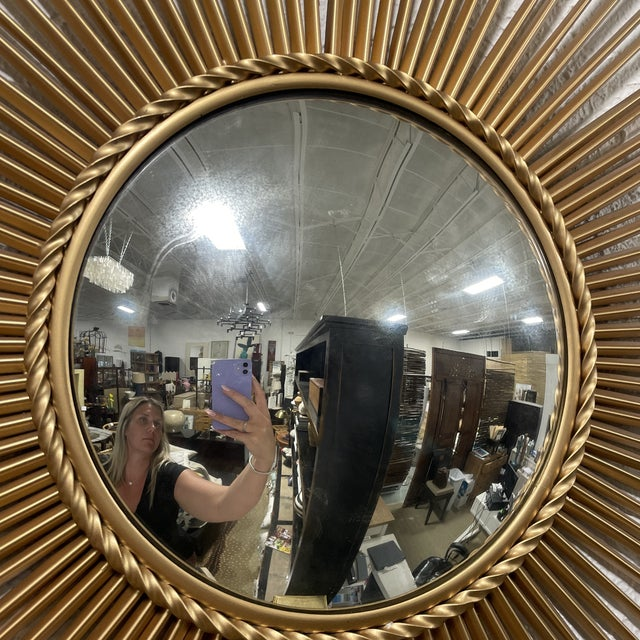 Gold Mid-Century Chaty Vallauris-Style Gilt Metal Sunburst Wall Mirror For Sale - Image 8 of 9