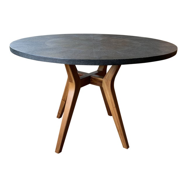 Contemporary Made Goods Black Faux Shagreen Round Dining Table For Sale