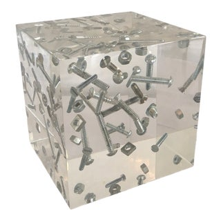 1970s Vintage Acrylic Cube Nuts and Bolts Sculpture For Sale