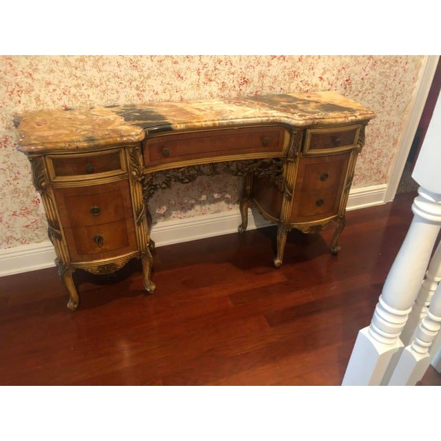 French Antique Marble Top Vanity For Sale - Image 3 of 12
