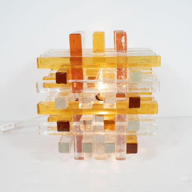 Mid-Century Modern Cubist Veronese Amber Hued Glass Table Lamp by Poliarte For Sale - Image 12 of 13