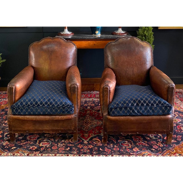 Magnificent pair of art deco French leather club chairs - circa 1930's with spectacular soft and supple original leather....